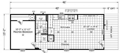 Champion Lake House CS1640A Mobile Home Floorplan